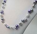 Two Strand Floating Pearl Necklace - Lilac/Flower