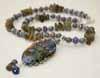 Lampwork Necklace - Labradorite/Coral