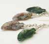 Crazy Lace Agate Leaf Earrings - Greens