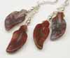 Crazy Lace Agate Leaf Earrings - Reds